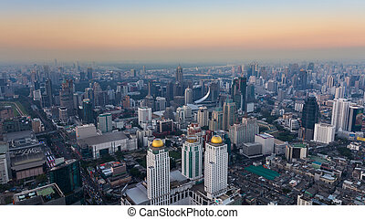 Aerial view Bangkok city downtown