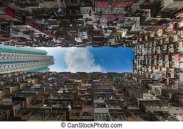 Overcrowded apartment residential building in Hong Kong city...
