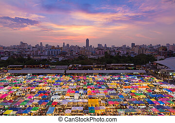 Aerial view multiple colour over night market