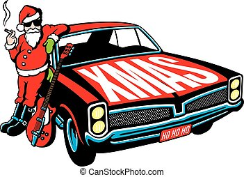 Rock and Roll Santa Claus vector design - Vector...