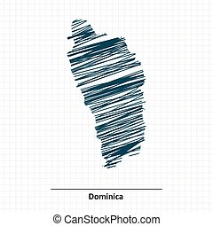 Doodle sketch of Dominica map - vector illustration