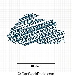 Doodle sketch of Bhutan map - vector illustration