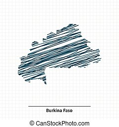 Doodle sketch of Burkina Faso map - vector illustration