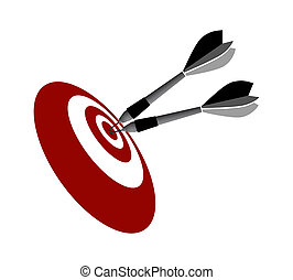 Target and two darts - darts on the target the symbol of...