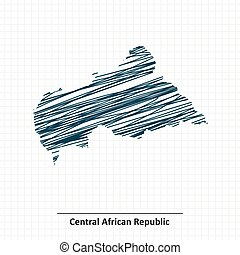 Doodle sketch of Central African Republic map - vector...