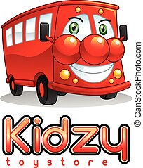 Smiling Red Bus Mascot Character.
