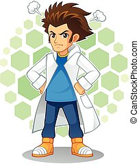 Cool Scientist Mascot Character. - High quality vector...