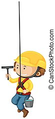 Window cleaner with safety equipments illustration