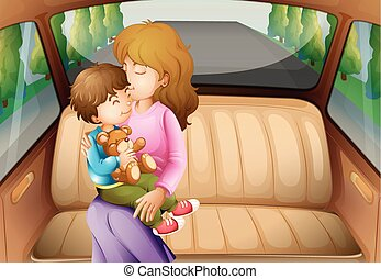 Boy and mother in back seat