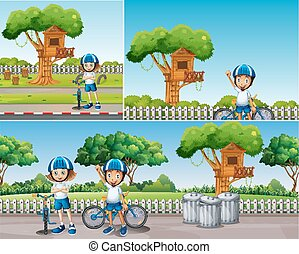 Kids riding bike in the park