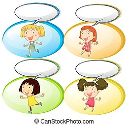 Little girls and communication bubbles illustration