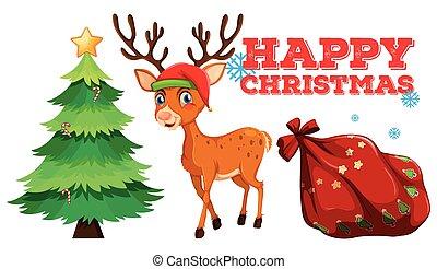 Christmas theme with reindeer and christmas tree