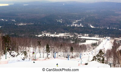Ski slope in a forest. Time Lapse