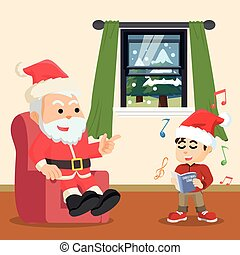 boy singing christmas song with santa