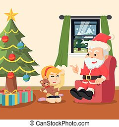 santa with girl talking about christmas