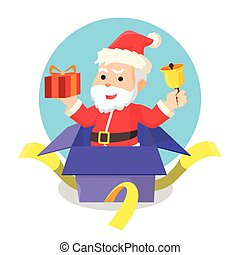 santa out from christmas box