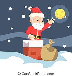 santa stuck in chimney illustration design