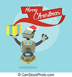 cleaning robot merry christmas illustration