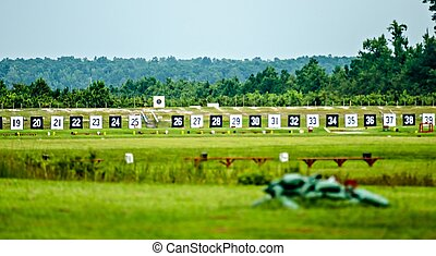 Targets for a shooting range with bulls-eye's are lined up...