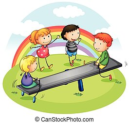 Many children playing seesaw in park illustration