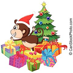 Christmas theme with monkey and tree