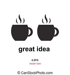 Exellent idea icon - Coffee with idea concept, exellent idea...