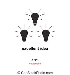 Exellent idea lamp icon - Light lamp sign icon or idea...