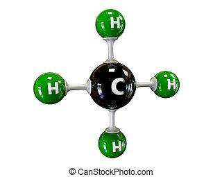 illustration molecule of Gas Methane on a white background -...