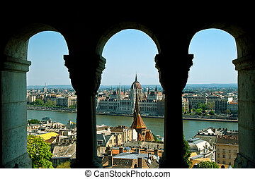 Budapest panorama - hungarian capital viewed trough arches