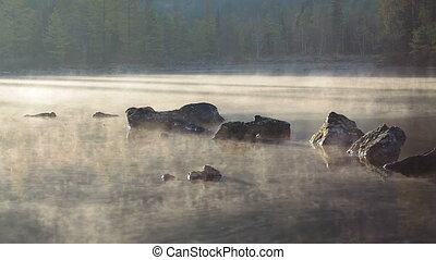 morning lake and fog after sunrise - morning lake and after...