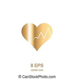 golden heart - simple gold heart on a white background