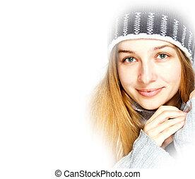 säsongbetonad, Vinter, Stående, vacker, ung,...
