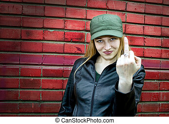 Young woman showing middle finger - Aggressive young woman...