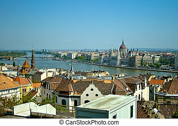 Budapest panoramic view - Hungarian Parliament in background