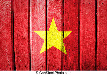 Vietnam Flag painted on old wood background