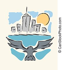 Bird flying to modern city hand drawing vector illustration