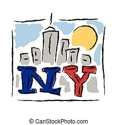 NY text creative hand drawn letters with cityscape symbol...