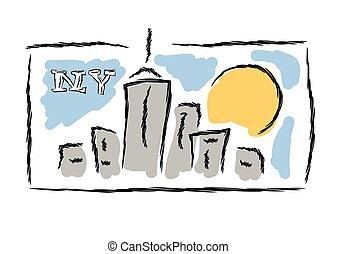 NY drawn cityscape symbol vector illustration