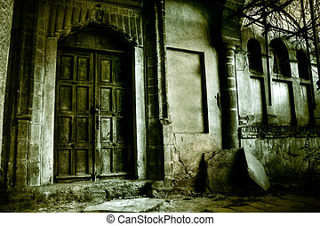 Haunted house - Front of a creepy old house - vintage...