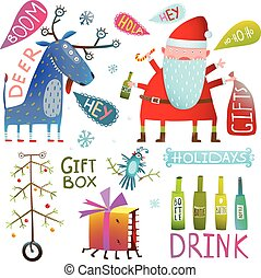 Happy New Year Merry Christmas clip art collection with deer santa gifts bottles and tree