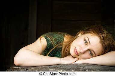 Beautiful girl relaxing - Beautiful young woman relaxing in...