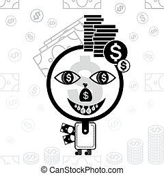 Money man stylized icon. - The character made of a purse,...