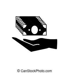 Pictograph of money in hand simple black icon isolated