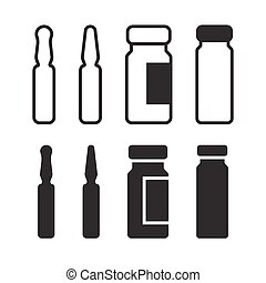 Medical ampoule or vaccine icon set. Simple medical sign...