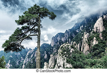 The famous Huangshan landscape, one of the tourist...