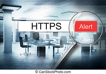 reading the word https browser search alert 3D Illustration
