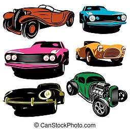 collection of vector illustration with colored classic cars...