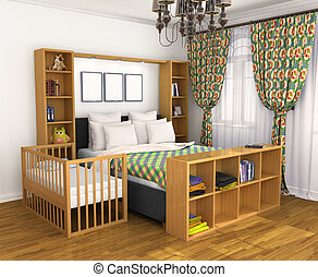 Bedroom for the parents and the child. Lullaby baby bed...