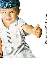 Cute kid showing ok sign - Cute kid with blue eyes showing...