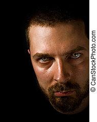 masculino, rosto, assustador, olhos